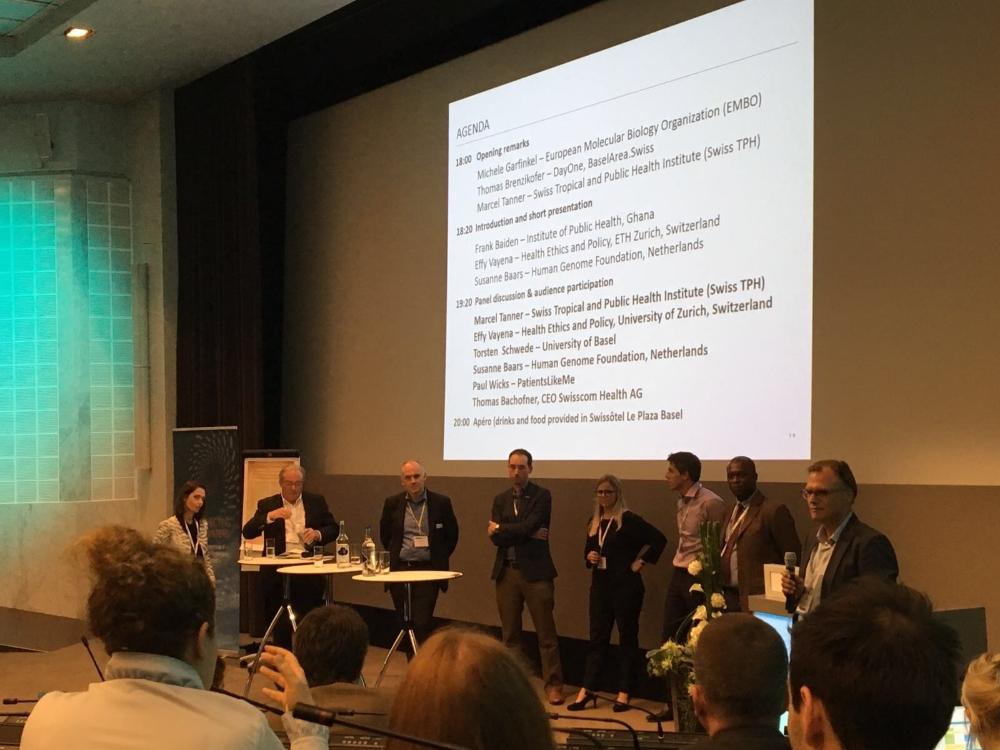 The panel (starting from left): Effy Vayena, ETH Zurich; Marcel Tanner, Swiss TPH, Switzerland Torsten Schwede, University of Basel and SIB; Paul Wicks, PatientsLikeMe; Susanne Baars, Human Genome Foundation; Thomas Bachofner, Swisscom Heatlh; Frank Baiden, Institute of Public Health, Ghana